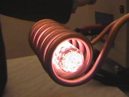 Работа индукционного нагревателя