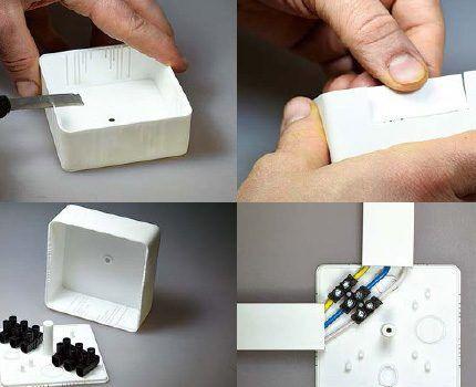Монтаж коробки под кабель-канал