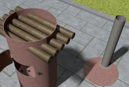 Модель с интегрированными трубами