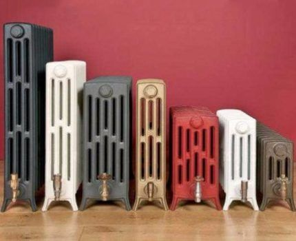 Multicolored cast iron radiators