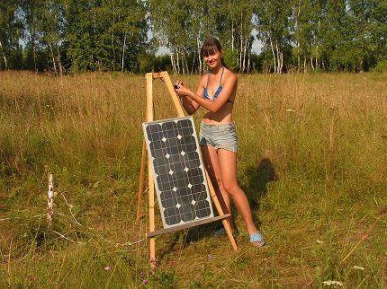 Самодельная солнечная панель на даче