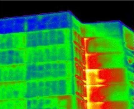 Теплопотери здания в инфракрасном спектре