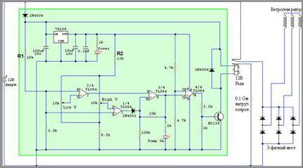 Схема контроллера на tl084