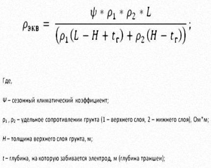 Формула для сопротивления неоднородного грунта