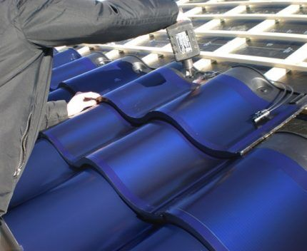 Solar panel on roof tiles