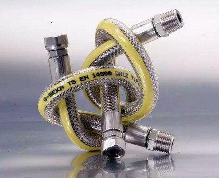 Газовый шланг с металлической оплеткой