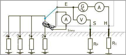Схема измерений по четырём точкам