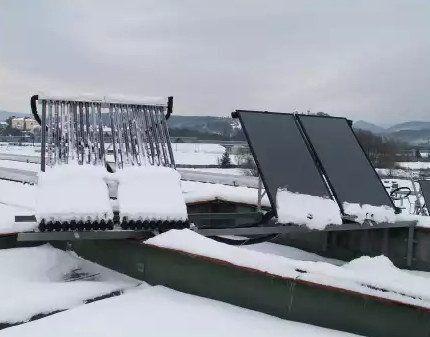 Вакуумный коллектор под снегом