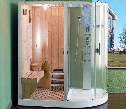 Shower cabin with sauna