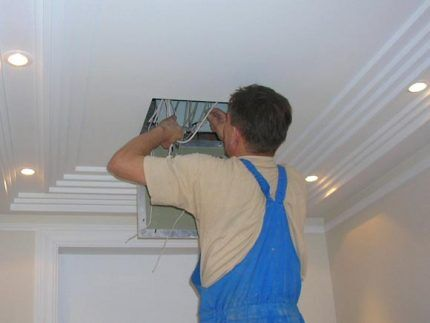 Using the ceiling access hatch