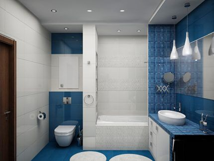 Different lighting in the combined bathroom