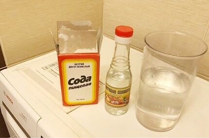 Vinegar and soda for cleaning machine