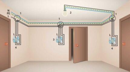 Схема монтажа трех проходных выключателей