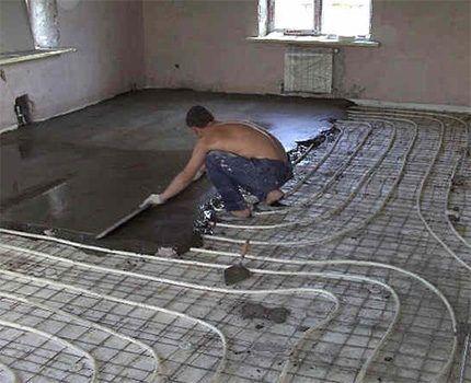 Заливка цементной стяжки для теплого пола