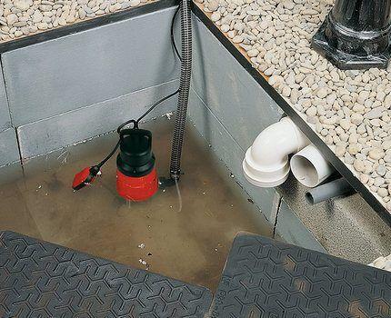 Насос с поплавковым выключателем в работе