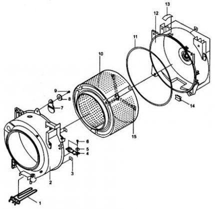Схема деталей стиральной емкости машинки