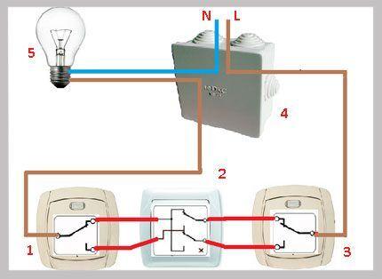 Схема с перекрестным выключателем