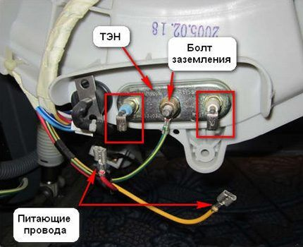 Расположение ТЭНа в машине