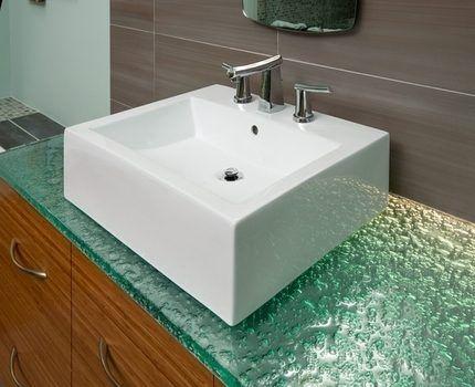 Столешница для ванной из стекла