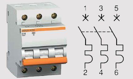Трёхфазный автомат выключатель