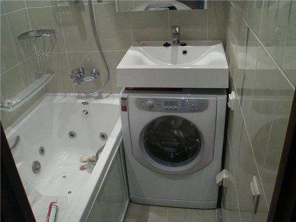 Стиральная машина в миниатюрной ванной