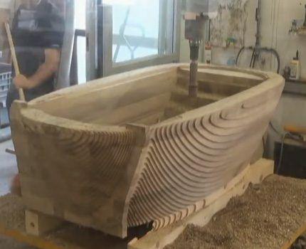 Изготовление ванны в столярном цеху
