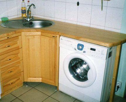 Узкая стиральная машина в мебельном гарнитуре