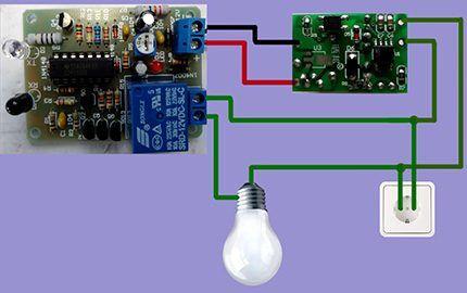 Схема подключения датчика к люстре