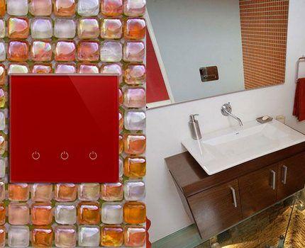 Беспроводной выключатель в ванной комнате