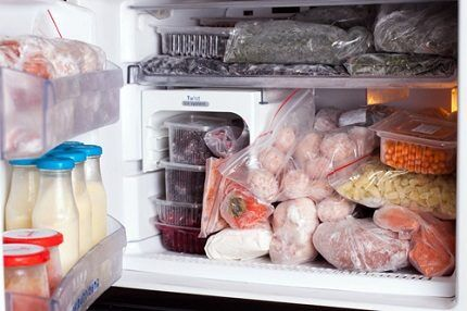 Products in the freezer