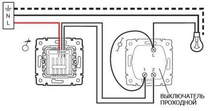 Подключение диммера с выключателем