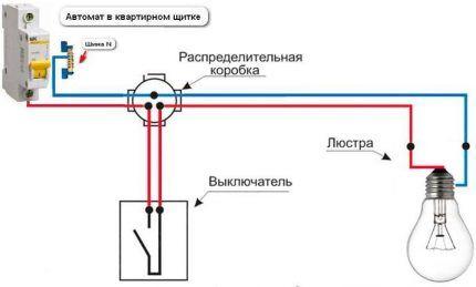 Схема подключения одной лампы