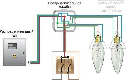 Схема с трехжильной проводкой