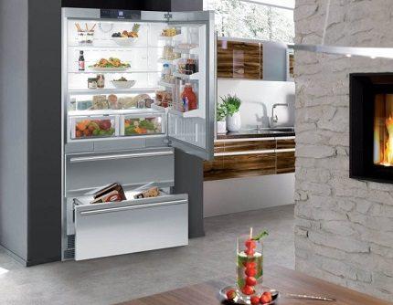 Холодильник марки Либхер в интерьере