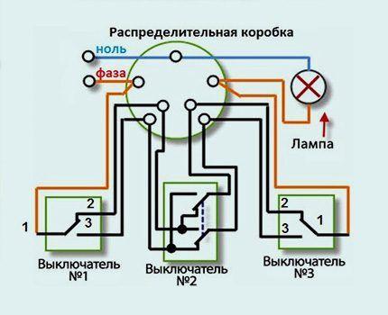 Схема подключения устройств переходных и перекрестных