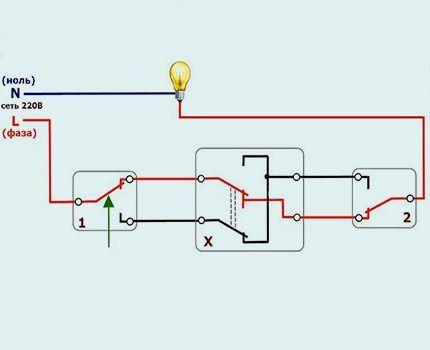 Подключение перекидного выключателя напрямую