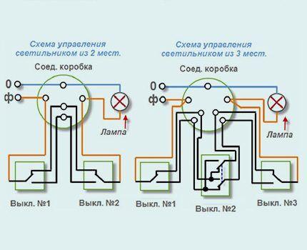 Схема сборки линии освещения и управления ею из 2 и 3 мест