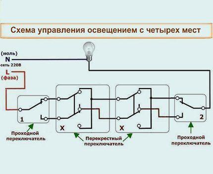 Схема установки переключателя из 4 мест