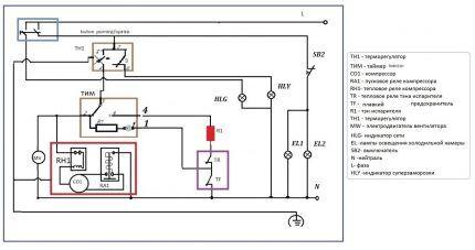 Электрическая цепь холодильника