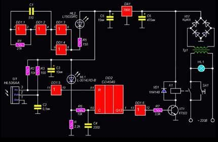 Вторая схема сенсорного выключателя