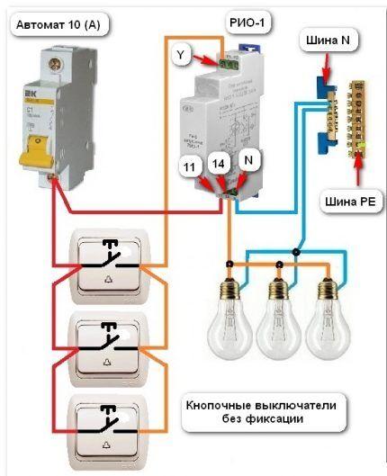 Схема подключения освещения
