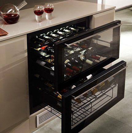 Встраиваемый винный холодильник