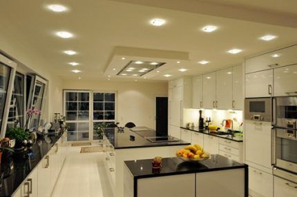 Stretch ceilings with LED lamps