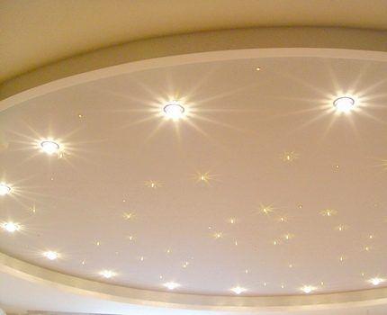 Светодиодные лампы на натяжном потолке