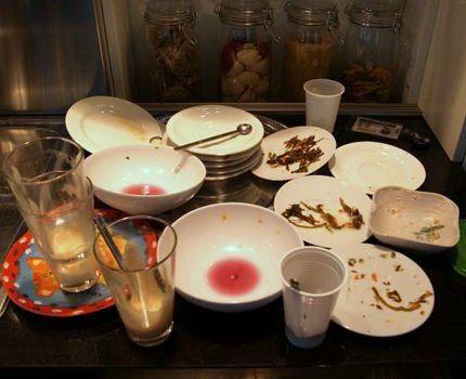 Грязная посуда с остатками пищи