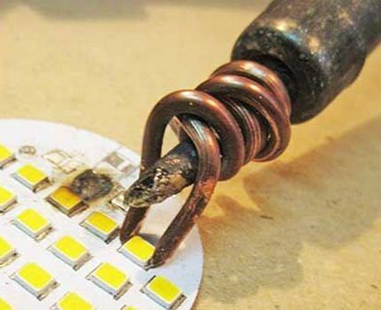 Пропайка светодиодов на плате