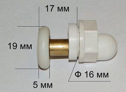Стандартные размеры ролика для душевых кабинок