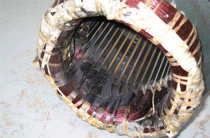 Сгоревшая обмотка электродвигателя