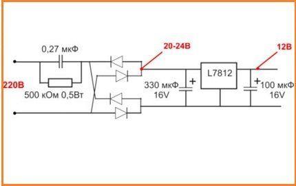 Схема преобразователя на 220 В