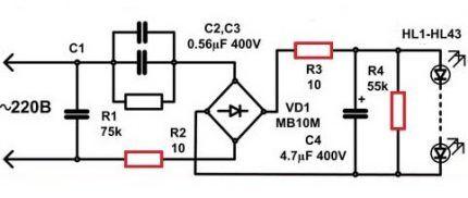 Схема драйвера LED-лампы